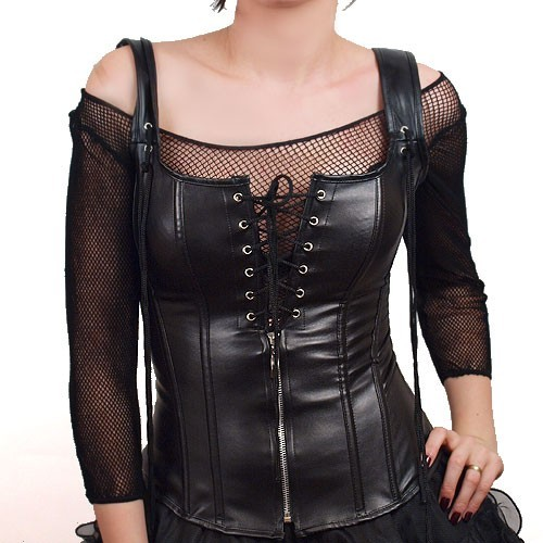 Black leather like Corset