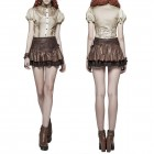 Brown Mini Skirt with Lace and Lacing