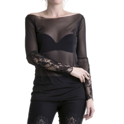 Tulle T-Shirt with Lace