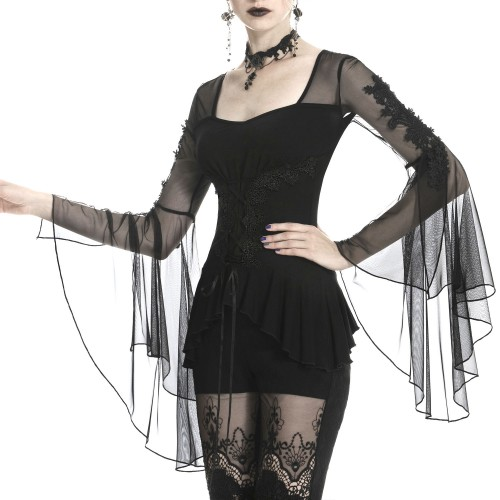 Black T-Shirt with Tulle and Guipure
