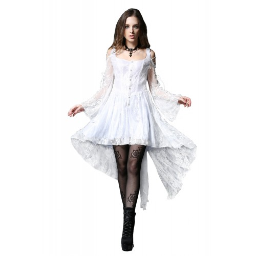 White Dress with Wide Sleeves
